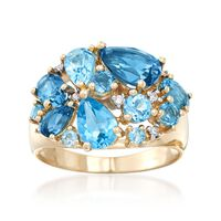 4.45 ct. t.w. Tonal Blue Topaz Cluster Ring With Diamond Accents in 14kt Yel..