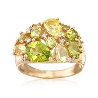 1.00 ct. t.w. Lemon and Green Quartz and 2.10 ct. t.w. Peridot Ring in 14kt ..