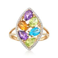 2.20 ct. t.w. Multi-Stone and .14 ct. t.w. Diamond Ring in 14kt Yellow Gold...