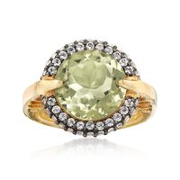 5.75 Carat Green Prasiolite and .80 ct. t.w. White Topaz Ring in 18kt Gold Over Sterling. Size 9