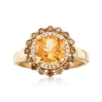1.90 Carat Citrine and .35 ct. t.w. Brown Diamond Ring with White Diamond Accents in 14kt Yellow Gold. Size 6
