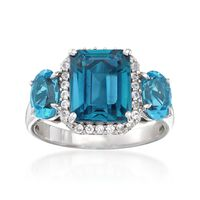 4.30 ct. t.w. London and Swiss Blue Topaz and .30 ct. t.w. White Zircon Ring..