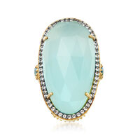 Aqua Chalcedony and .70 ct. t.w. Blue and White Topaz Ring in 18kt Gold Over Sterling. Size 6