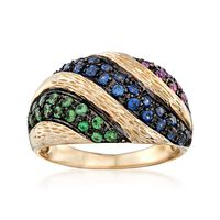 .50 ct. t.w. Multicolored Sapphire and .20 ct. t.w. Tsavorite Ring in 14kt Y..