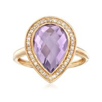 3.60 Carat Pear-Shaped Amethyst and .19 ct. t.w. Diamond Ring in 14kt Yellow..