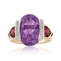 5.75 Carat Amethyst and 1.30 ct. t.w. Garnet Ring With Diamond Accents in 14..