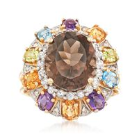 4.80 Carat Smoky Quartz and 2.20 ct. t.w. Multi-Stone Ring With Diamond Acce..