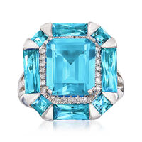 7.80 ct. t.w. Blue Topaz and .19 ct. t.w. Diamond Halo Ring in 14kt White Gold. Size 7