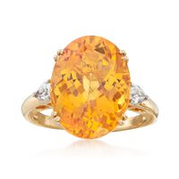 9.75 Carat Oval Yellow Beryl and .40 ct. t.w. White Zircon Ring in 14kt Yellow Gold. Size 5