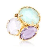 Italian 5.10 ct. t.w. Multi-Stone and Chalcedony Ring in 18kt Yellow Gold. Size 10