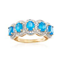 1.70 ct. t.w. Blue Apatite Five-Stone Ring With .39 ct. t.w. Diamonds in 14k..