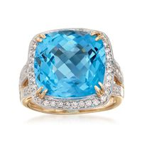 12.00 Carat Cushion-Cut Blue Topaz and .40 ct. t.w. Diamond Ring in 14kt Yel..