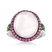 Pink Chalcedony and .80 ct. t.w. Mixed Gemstone Ring in Sterling Silver. Siz..