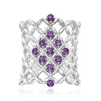 .50 ct. t.w. Amethyst Latticework Ring in Sterling Silver. Size 10