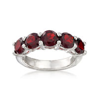 3.50 ct. t.w. Garnet Five-Stone Ring in Sterling Silver. Size 7