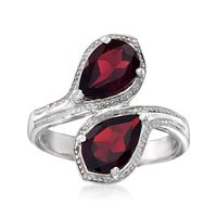 2.40 ct. t.w. Pear-Shaped Garnet Bypass Ring in Sterling Silver. Size 8
