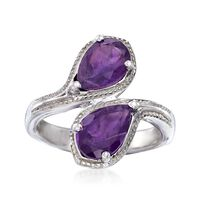 2.10 ct. t.w. Pear-Shaped Amethyst Bypass Ring in Sterling Silver. Size 8