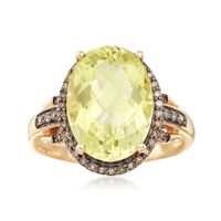 5.50 Carat Lemon Quartz and .21 ct. t.w. Brown Diamond Ring in 14kt Yellow G..
