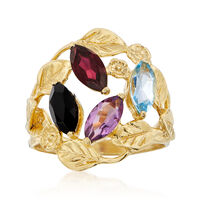 Black Onyx and 1.90 ct. t.w. Multi-Stone Leaf Ring in 18kt Gold Over Sterlin..