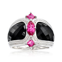 Black Agate and 1.00 ct. t.w. Pink Topaz Ring in Sterling Silver. Size 5