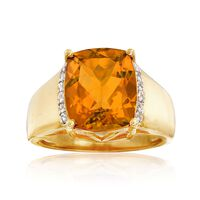 5.00 Carat Citrine and .10 ct. t.w. White Zircon Ring in 18kt Gold Over Sterling. Size 7
