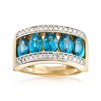3.90 ct. t.w. Blue Zircon and .24 ct. t.w. Diamond Ring in 14kt Yellow Gold...