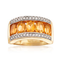 2.20 ct. t.w. Citrine and .40 ct. t.w. White Zircon Ring in 18kt Gold Over Sterling. Size 5
