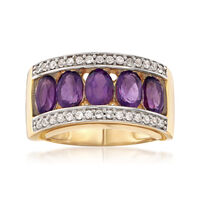 2.20 ct. t.w. Amethyst and .40 ct. t.w. White Zircon Ring in 18kt Gold Over Sterling. Size 6