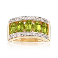 2.40 ct. t.w. Peridot and .40 ct. t.w. White Zircon Ring in 18kt Gold Over Sterling. Size 5