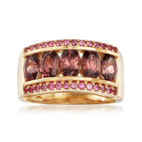 3.90 ct. t.w. Pink Zircon and .30 ct. t.w. Pink Sapphire Ring in 14kt Yellow..