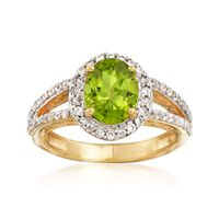 1.90 Carat Peridot and .80 ct. t.w. White Zircon Ring in 18kt Gold Over Sterling. Size 7