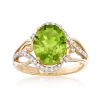 3.00 Carat Peridot Ring With .28 ct. t.w. Diamonds in 14kt Yellow Gold. Size 8