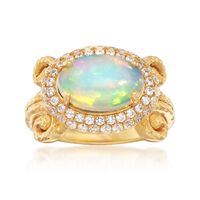 Opal and .90 ct. t.w. White Zircon Halo Ring in 18kt Yellow Gold Over Sterli..