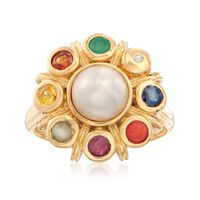 7mm Cultured Button Pearl and .49 ct. t.w. Multi-Stone Ring in 18kt Gold Ove..