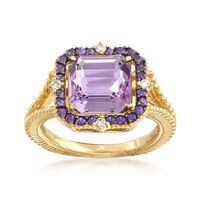 "Judith Ripka ""Lila"" 3.63 ct. t.w. Amethyst Ring With Diamo.."