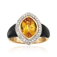 Black Onyx and 3.10 Carat Citrine Ring With .19 ct. t.w. Diamonds in 14kt Ye..
