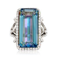 19.00 Carat Blue Quartz and 1.10 ct. t.w. White Topaz Ring in Sterling Silve..