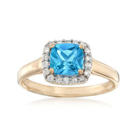 1.10 Carat Swiss Blue Topaz and .17 ct. t.w. Diamond Ring in 14kt Yellow Gol..