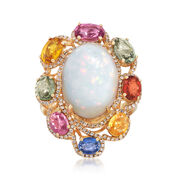 Opal and 3.95 ct. t.w. Multicolored Multi-Stone Ring in 18kt Yellow Gold