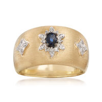 .20 Carat Sapphire and .10 ct. t.w. Diamond Ring in 14kt Yellow Gold. Size 8