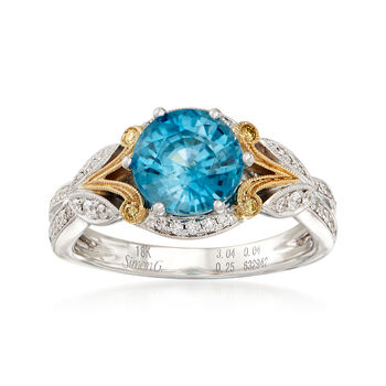 Simon G. 2.99 Carat Blue Zircon and .23 ct. t.w. Diamond Ring in 18kt Two-Tone Gold