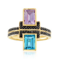 1.80 ct. t.w. Multi-Stone Ring in 18kt Gold Over Sterling. Size 6