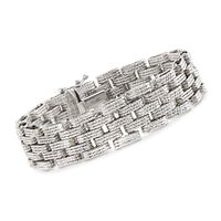 Sterling Silver Textured and Stacked Link Bracelet. 7""