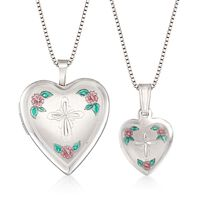 Sterling Silver Mother/Daughter Jewelry Set: Two Heart Cross Necklaces With ..