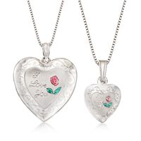 "Sterling Silver Mother/Daughter Jewelry Set: Two ""I Love You&qu.."
