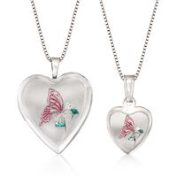 Sterling Silver Mother/Daughter Jewelry Set: Two Butterfly Heart Locket Neck..