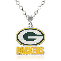Sterling Silver NFL Green Bay Packers Enamel Pendant Necklace. 18""