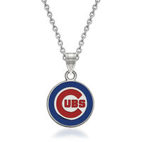Sterling Silver Mlb Chicago Cubs Enamel Pendant Necklace. 18""