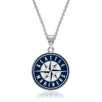 Sterling Silver Mlb Seattle Mariners Enamel Pendant Necklace. 18""