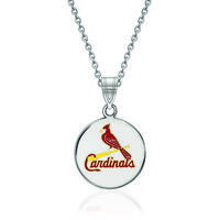 Sterling Silver Mlb St. Louis Cardinals Enamel Disc Pendant Necklace. 18&amp..